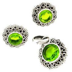 Green peridot quartz 925 sterling silver pendant earrings set jewelry j1405