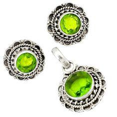Green peridot quartz 925 sterling silver pendant earrings set jewelry j1437