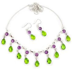 Green peridot quartz amethyst 925 sterling silver earrings necklace set h90135