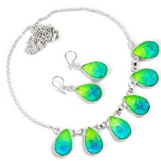 Green tourmaline quartz 925 sterling silver earrings necklace set jewelry h89515
