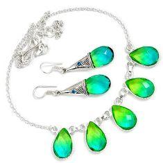 Green tourmaline quartz topaz 925 sterling silver earrings necklace set h89520