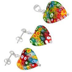 Heart shape italian murano glass 925 silver pendant earrings jewelry set h54090