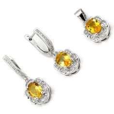 INCREDIBLE NATURAL YELLOW CITRINE TOPAZ 925 STERLING SILVER SET JEWELRY H20814