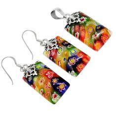 Italian murano flower glass 925 sterling silver pendant earrings set h54083