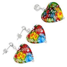 Italian murano flower glass heart sterling silver pendant earrings set h54091