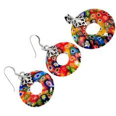 Italian murano flower glass sterling silver donut pendant earrings set h54081