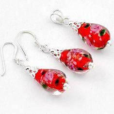 Italian murano glass 925 sterling silver drop flower pendant earrings set h54117