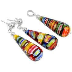 Italian murano glass 925 sterling silver pendant earrings jewelry set h54097