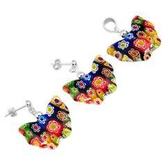 Italian murano glass butterfly 925 silver pendant earrings jewelry set h54093