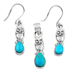 925 silver 4.92cts blue arizona mohave turquoise owl pendant earrings set r55749