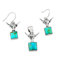 925 silver 6.78cts green arizona mohave turquoise pendant earrings set r20967