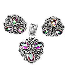 Clearance Sale- 925 silver 9.78cts multi color rainbow topaz oval pendant earrings set d44427