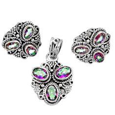 Clearance Sale- 925 silver 9.56cts multi color rainbow topaz oval pendant earrings set d44429