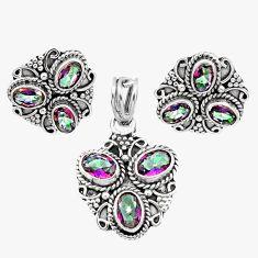 Clearance Sale- 925 silver 9.33cts multi color rainbow topaz oval pendant earrings set d44475
