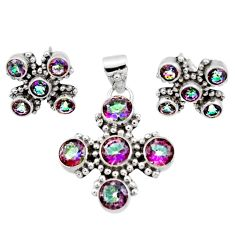 Clearance Sale- 925 silver 8.82cts multi color rainbow topaz round pendant earrings set d44409