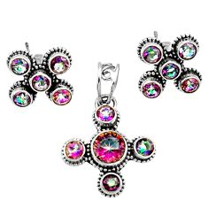 Clearance Sale- 925 silver 7.78cts multi color rainbow topaz round pendant earrings set d44451