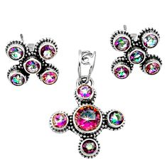 Clearance Sale- 925 silver 7.51cts multi color rainbow topaz round pendant earrings set d44453