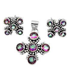 Clearance Sale- 925 silver 10.67cts multi color rainbow topaz round pendant earrings set d44460