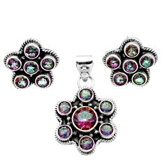 Clearance Sale- 925 silver 11.30cts multi color rainbow topaz round pendant earrings set d44464