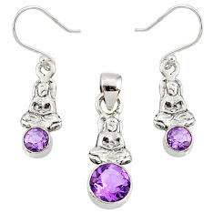925 silver 5.53cts natural amethyst buddha charm pendant earrings set r70080