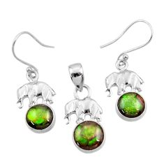 Clearance Sale- 925 silver 9.03cts natural ammolite elephant pendant earrings set jewelry d44498