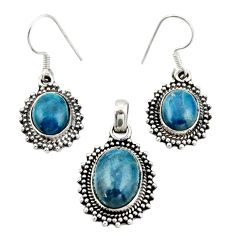 925 silver 12.32cts natural apatite (madagascar) pendant earrings set d45871