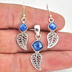 925 silver 6.57cts natural blue kyanite leaf charm pendant earrings set r70053