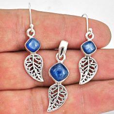 925 silver 6.57cts natural blue kyanite leaf charm pendant earrings set r70054
