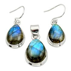 925 silver 17.94cts natural blue labradorite pear pendant earrings set d47631
