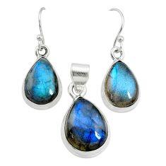 925 silver 22.57cts natural blue labradorite pear pendant earrings set r73058