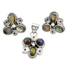 925 silver 10.38cts natural blue labradorite pendant earrings set jewelry d45873