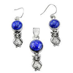 925 silver 11.53cts natural blue lapis lazuli owl pendant earrings set r20985