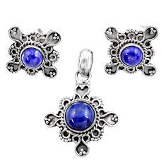 Clearance Sale- 925 silver 5.63cts natural blue lapis lazuli pendant earrings set d44432