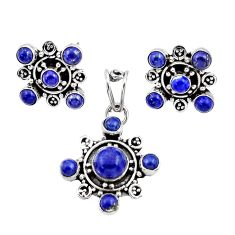 Clearance Sale- 925 silver 9.62cts natural blue lapis lazuli round pendant earrings set d44419