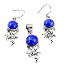 925 silver 11.87cts natural blue lapis lazuli round pendant earrings set r20983