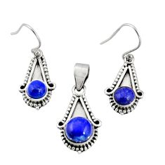 925 silver 5.43cts natural blue lapis lazuli round pendant earrings set r20989