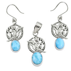925 silver 7.85cts natural blue larimar angel charm pendant earrings set r70069