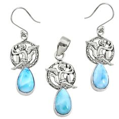 925 silver 13.34cts natural blue larimar angel charm pendant earrings set r70072
