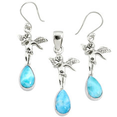 925 silver 11.05cts natural blue larimar angel pendant earrings set r70096