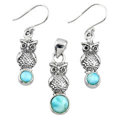 925 silver 3.22cts natural blue larimar owl pendant earrings set r55774