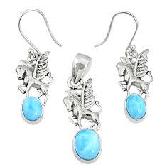 925 silver 7.62cts natural blue larimar unicorn pendant earrings set r70064