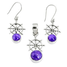925 silver 5.57cts natural charoite (siberian) round pendant earrings set r69997
