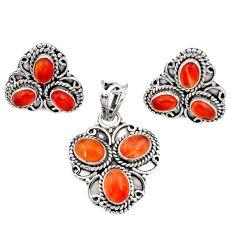 925 silver 10.16cts natural cornelian (carnelian) pendant earrings set d44435