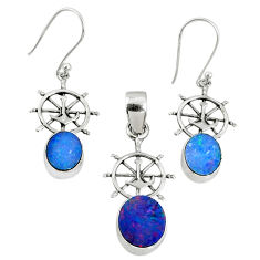 925 silver 6.03cts natural doublet opal australian pendant earrings set r69949