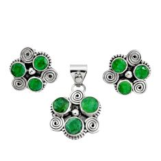 925 silver 8.89cts natural green emerald round pendant earrings set r20971