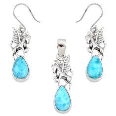 925 silver 10.74cts natural larimar pear unicorn pendant earrings set r70085