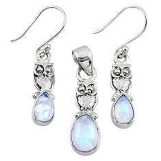 925 silver 6.31cts natural rainbow moonstone owl pendant earrings set r55735