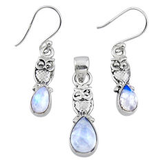 925 silver 6.31cts natural rainbow moonstone owl pendant earrings set r55736