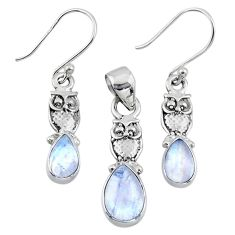925 silver 6.56cts natural rainbow moonstone owl pendant earrings set r55757