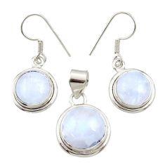 925 silver 11.87cts natural rainbow moonstone pendant earrings set d44518